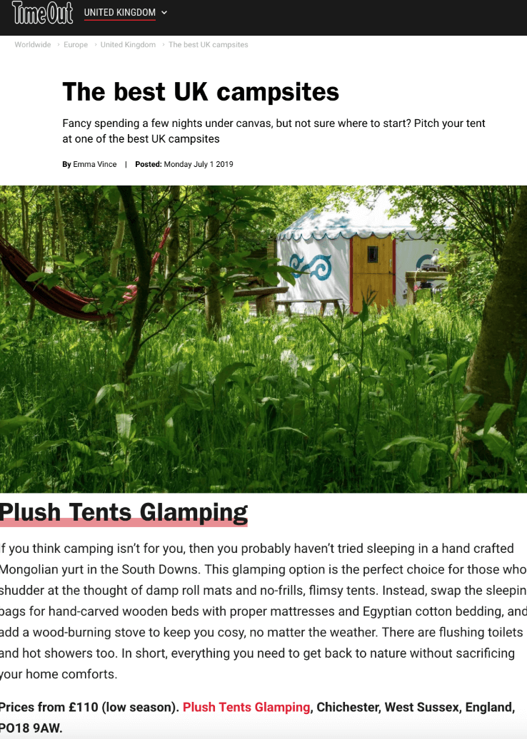 Plush Tents Yurt Village Time Out The Best UK campsites