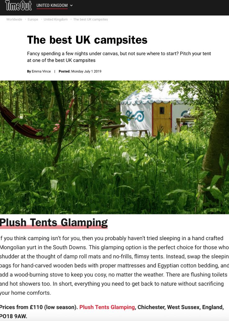 Plush Tents Yurt Village Time Out The Best UK campsites
