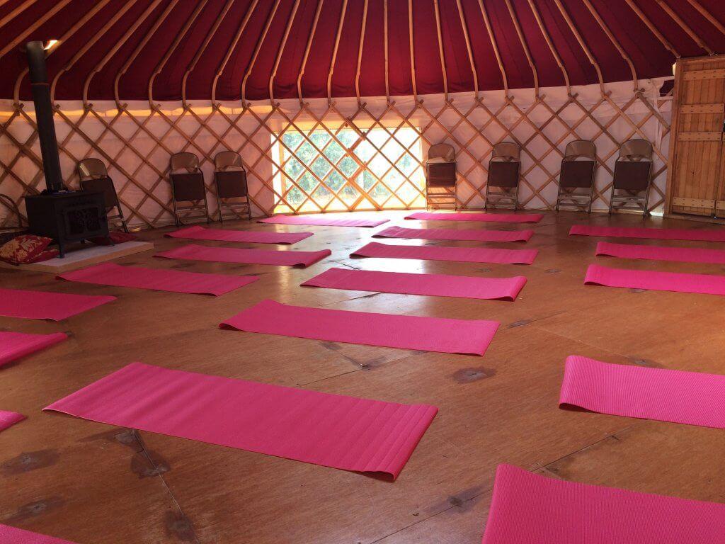 Yoga in the yurt Plush Tents glamping