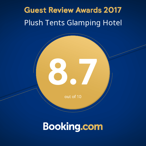 Booking.com 2017 Review award for Plush Tents Glamping
