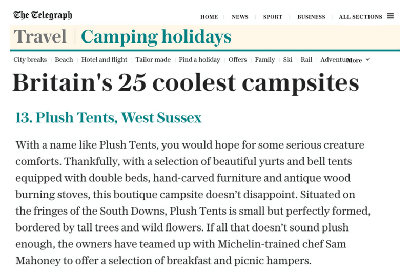 Plush Tents Glamping Telegraph Britains Coolest Campsites