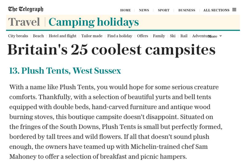Plush Tents Glamping Telegraph Britains Coolest Campsites