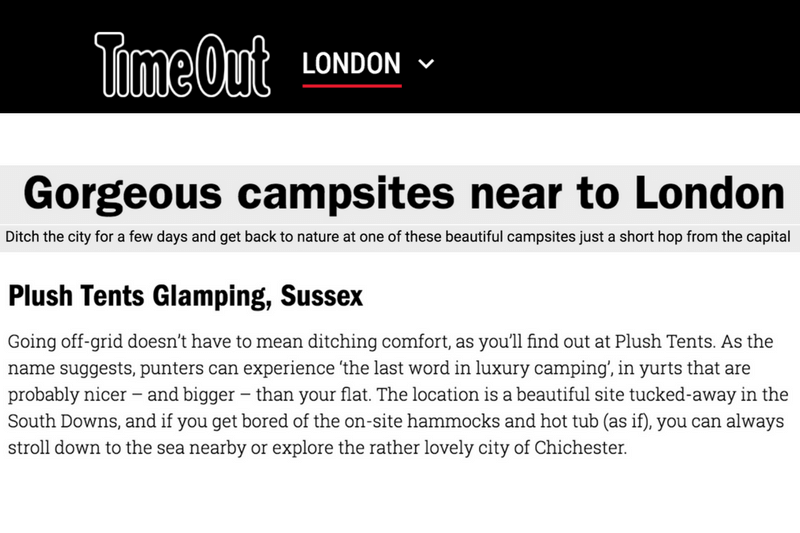 Timeout London Gorgeous Campsites Near To London Plush Tents Glamping