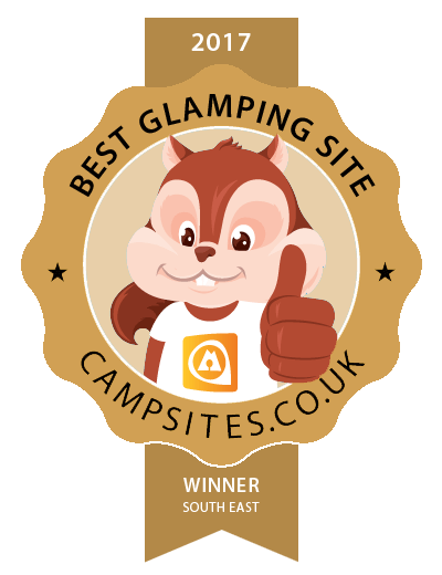The award for our Sussex glamping site on Campsites.co.uk