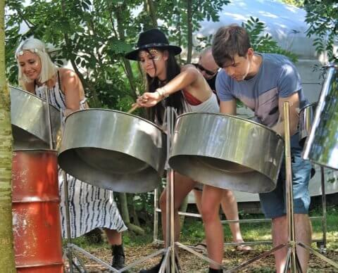 team away days steel pan workshop Camp kindred corporate team building