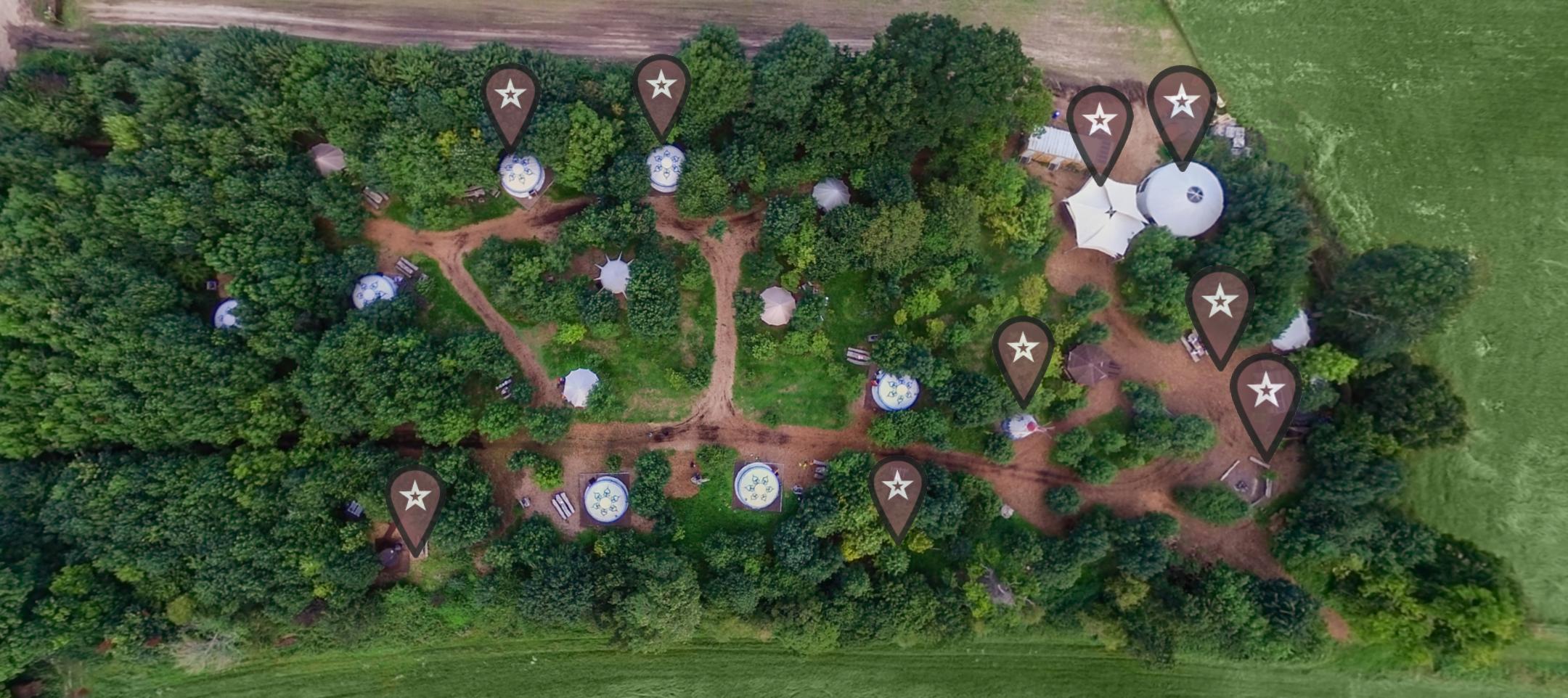 Aerial View Plush Tents Yurt Village
