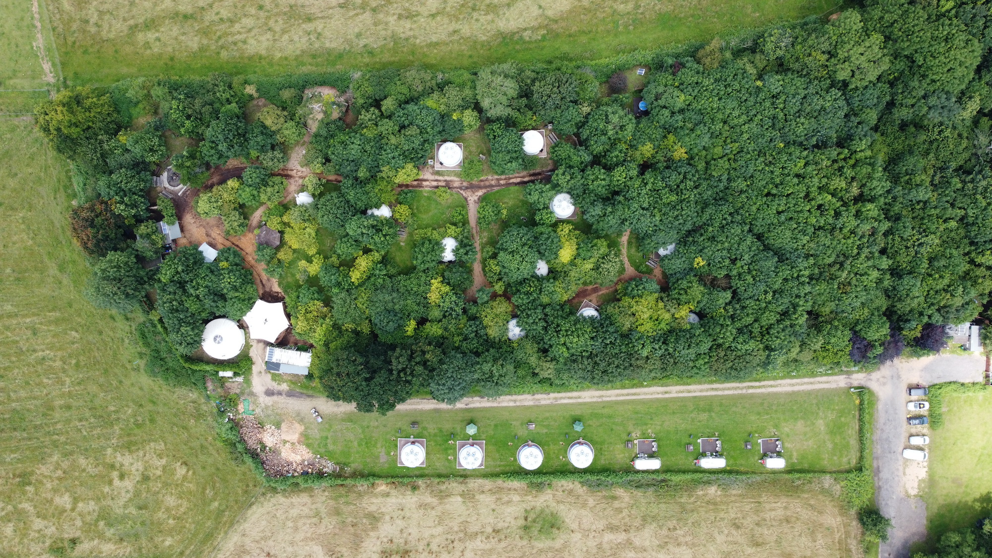 Aerial View Plush Tents Glamping